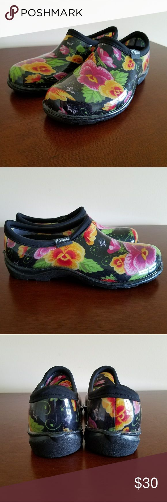 Sloggers rain / garden shoes Beautiful garden shoes waterproof women's size 6. Black embellished with colored flowers. Excellent preowned condition. sloggers Shoes Winter & Rain Boots