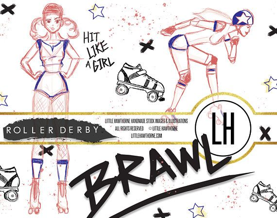 Roller Derby Clipart, Skate Clip Art, Sports Clipart, Skating, Sports Logo, Sports Decal