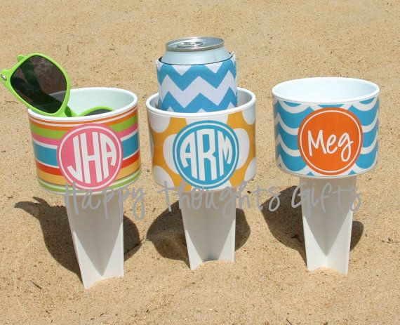 THREE Monogrammed Beach Drink Holders Sand Spiker with Vinyl Wrap Personalization