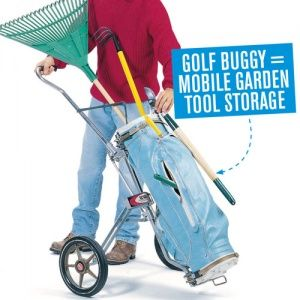 Store garden tools in a golf buggy