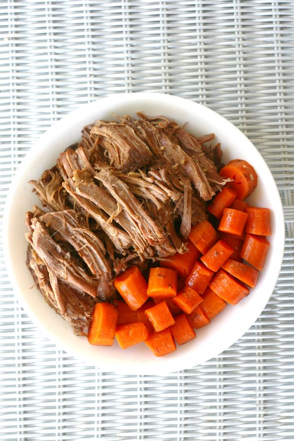 Delicious and super easy slow cooker roast beef recipe with Apple Beer.