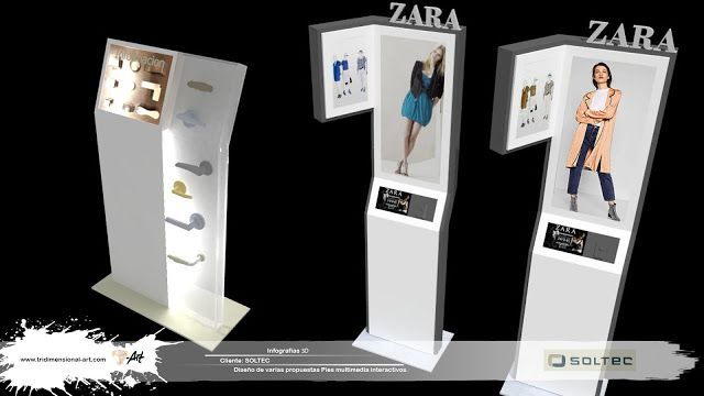 infografías 3d interactive multimedia totems zara