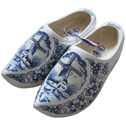 Real Wooden Clogs With Delft Blue Painting Will Work