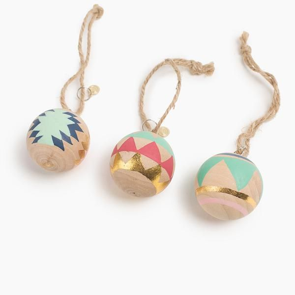 Hand Painted Wood Ornaments Set of 3