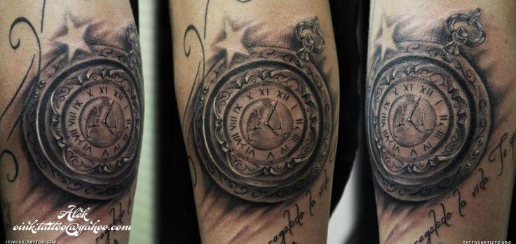 clock tattoo by alek