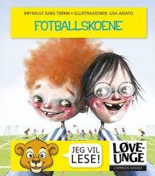 Om boka: Fotballskoene – langt navn på boka, men den er god og lett å lese!  Olav og Sigurd er klare for å spille kamp, men de får litt trøbbel.  Det står en setning på hver side. Tegningene er morsomme! På en side får vi nærbilde av trenerens store rumpe. På en annen ser vi et tannløst barneansikt med knekte briller.