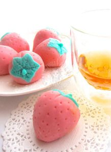"""custard mochi - I don't know what """"mochi"""" is, but these remind me of the little marzipan fruits and animals my mom made when I was little.  They were so fun."""