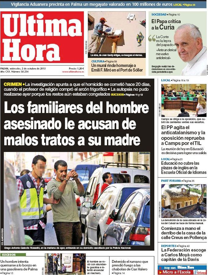 Los Titulares y Portadas de Noticias Destacadas Españolas del 2 de Octubre de 2013 del Diario Ultima Hora ¿Que le pareció esta Portada de este Diario Español?
