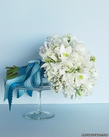 Brides BouquetWhite Flowers, Wedding Bouquets, Ribbons, Wedding Colors, Martha Stewart, White Bouquets, Something Blue, Sweets Peas, Blue And White
