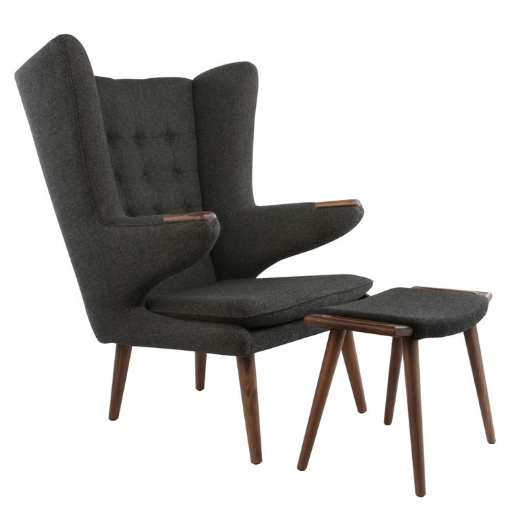 Replica Hans Wegner Papa Bear Chair and Ottoman - Premium - Matt Blatt