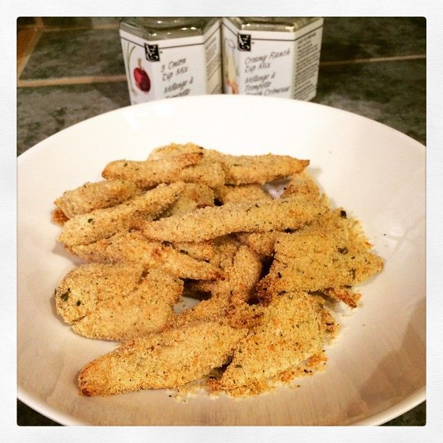 Homemade chicken strips are easy to make with a little help from #epicure ! I use the steamer to cook my chicken breasts in 10mins, slice them then shake them in a bag mix of bread crumbs, Parmesan, 3...