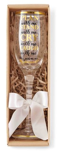 "Gift idea for bridesmaids - ""Will you be my bridesmaids?"" personalized champagne flute - ""Plan with me, stand with me, cry with me, laugh with me."" {Courtesy of The House of the Bachelorette}"