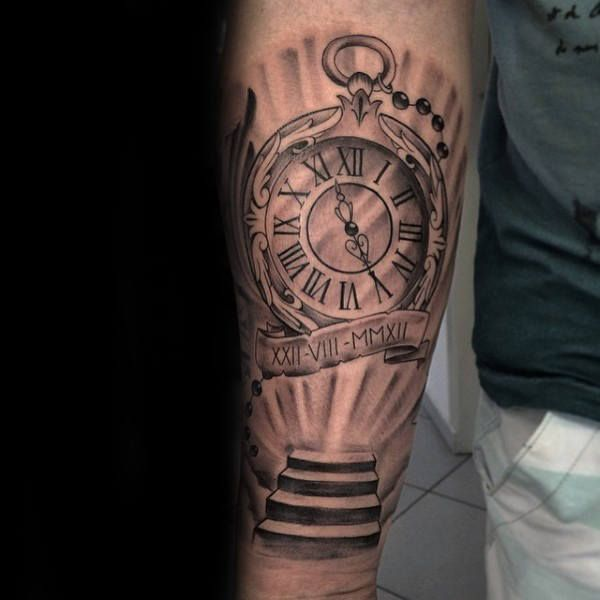 pocket watch with stairs to heaven mens inner forearm tattoos tats pinterest inner forearm. Black Bedroom Furniture Sets. Home Design Ideas