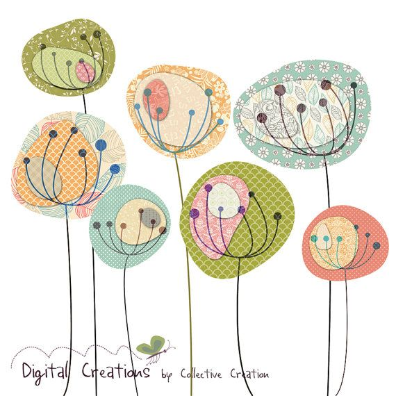 Dandelion Fields Digital Clip Art Set by CollectiveCreation, $5.20