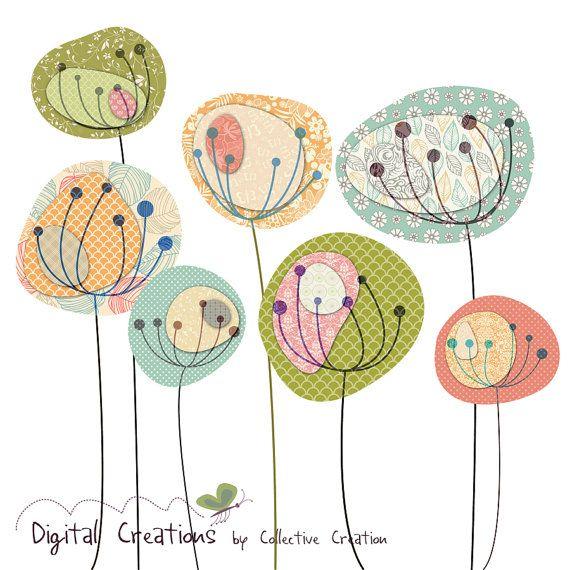 Diente de León campos Digital Clip Art Set por CollectiveCreation