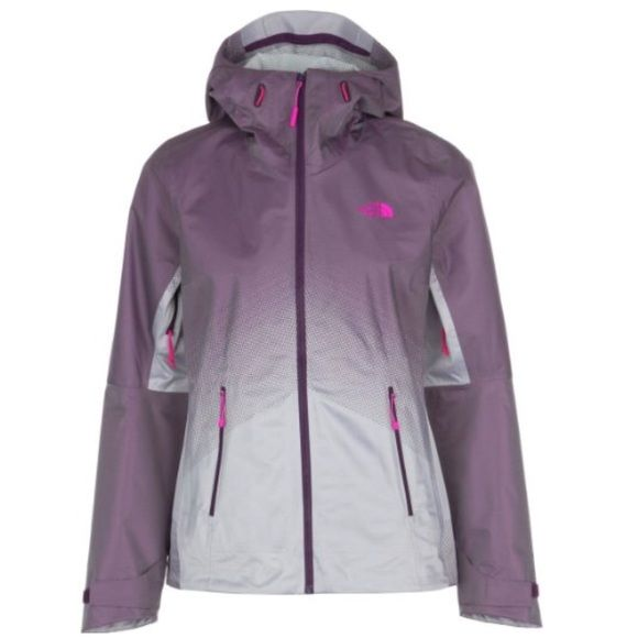 NORTH FACE Lightweight Waterproof Jacket Adorable North Face Jacket!!! A unique pretty shade of purple that fades into gray/silver. Such a unique stylish North Face Jacket and Rain Coat!! North Face on the front and back right shoulder in Bright Pink North Face Jackets & Coats