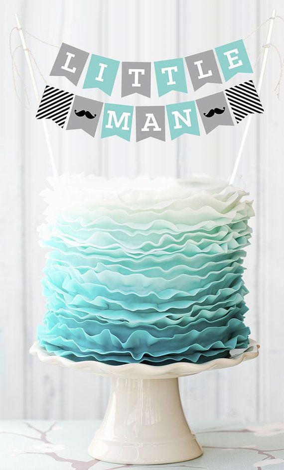 Little Man Cake Topper Decorations printed with LITTLE MAN and a mustache are sure to sweeten up your mustache baby shower cake decor! Mustache Cake
