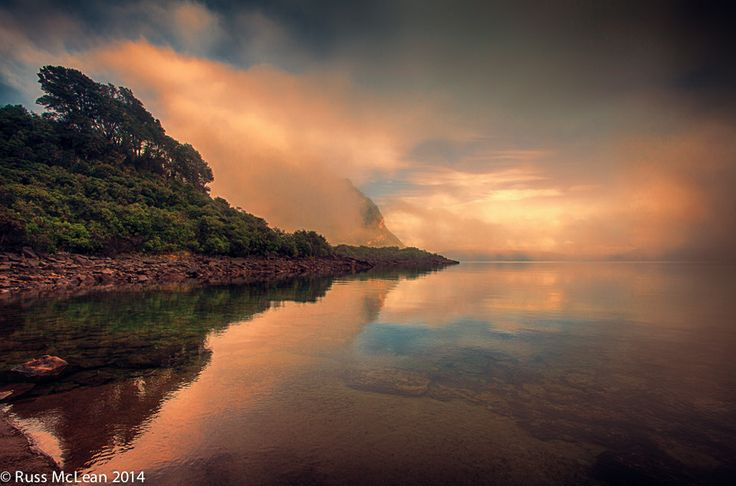 """""""Morning Mist"""" at Lake Waikaremoana on the East Coast of the North Island, NZ. After days of incessant rain the lake finally shed some of her mystery and revealed some of her intrigue."""