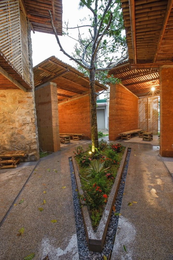 Bes Pavilion / H P Architects:   From the architect. BES pavilion is a service space for an open community, focusing on the aspects of art and culture. Located in the central Ha Tinh city, BES (Bamboo + Earth + Stone) is set up from local materials and traditional building methods which based on the idea of centralizing the users.