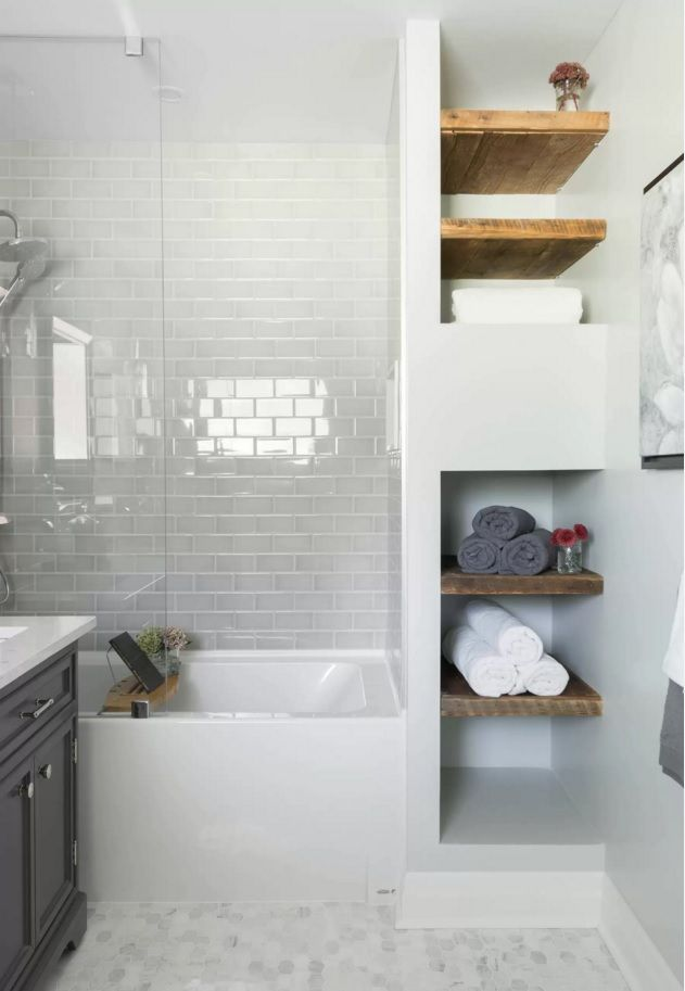 Image Of Bathroom white subway tile mosaic floor tile glass shower tub wood shelving Carriage Lane Design Build Inc
