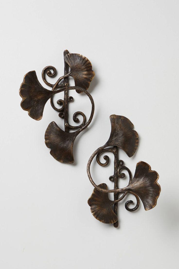 Anthropologie Ginkgo Leaf Tieback USD$30.00 Finials also avail. Has an Art Nouveau feel