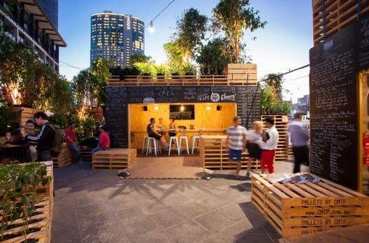 Cafetería en Melbourne hecha con palets | Muebles de palets
