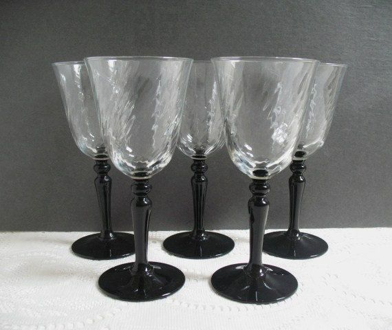 Vintage wine glasses luminarc black stem swirl cristal d for Thin stem wine glasses