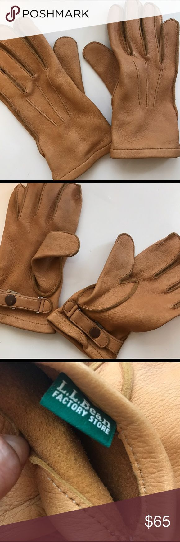 L.L.Bean deerskin leather camel gloves Gorgeous deer skin leather camel leather gloves. Feels like BUTTER! This says size small but they are men's gloves and could probably fit a liner. Gently used no signs of wear L.L. Bean Accessories Gloves