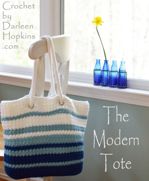 Crochet pattern for a tote bag. The Modern Tote by Darleen Hopkins #CbyDH