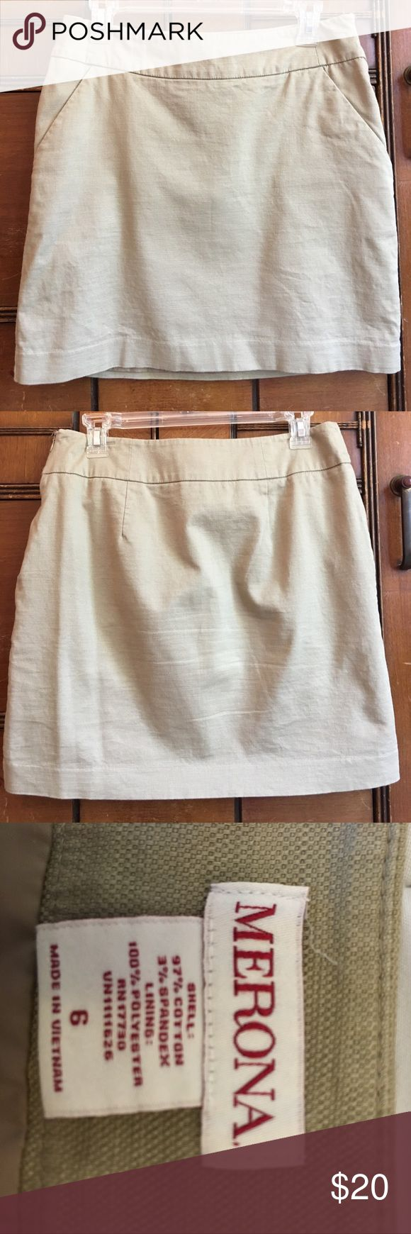 Tan Pencil Skirt Tan double-lined Merona pencil skirt in EUC perfect for work! Pocket option in the front. No stains, rips, or snags. Merona Skirts Pencil