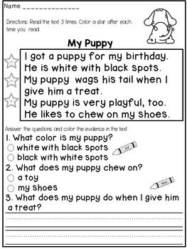"""Reading Comprehension Passages ( FICTION) :This reading comprehension product contains 12 FICTIONAL passages that target both reading FLUENCY and COMPREHENSION.The students will have to:* read the text 3 times and color a star after each reading (for fluency)* answer 2 multiple choice questions and color the evidence in the text ( I usually help my students by asking : """" Can you find the words in the text that answer this question?"""