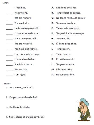 Verb Tener Worksheets And Activities | CINEMAS 93