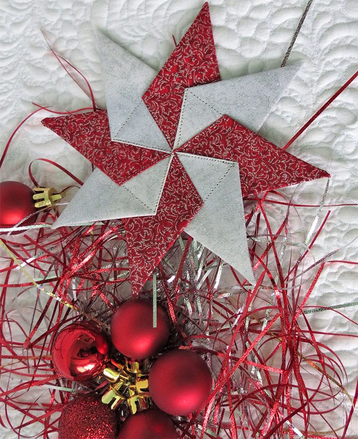 Learn How To Sew A Fabric Star Ornament Quilted Christmas Ornaments Christmas Quilt Patterns Christmas Ornaments