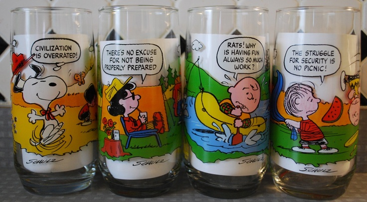 Snoopy Glasses Tiffany just bought Chris a few of those jelly jar glasses. One of them is Charlie Brown.