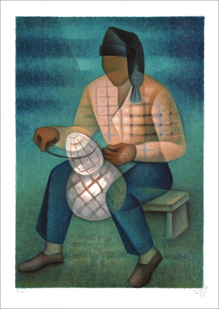 Louis TOFFOLI : Le Pêcheur de Nazaré, Lithographie Originale Maternité signée : Galerie 125