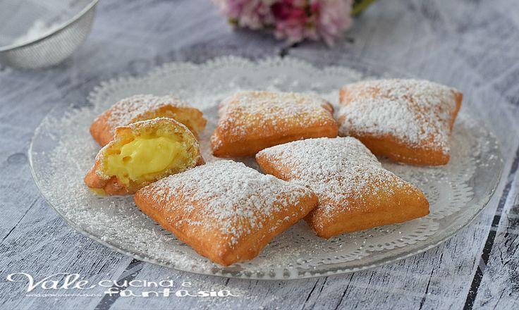 BUGIE FRITTE con crema pasticcera dolci di Carnevale senza burro, velocissimi e golosissimi, si impastano e si friggono e che buoni!