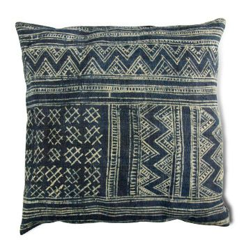 Indigo Batik Cushion. You can make this with Indigo dyed hemp available at ClothRoads.