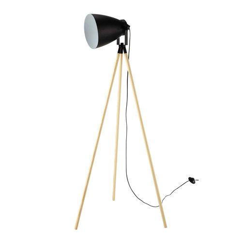 Lampadaire trépied en bois et métal noir H 130 cm SPOT LIGHT