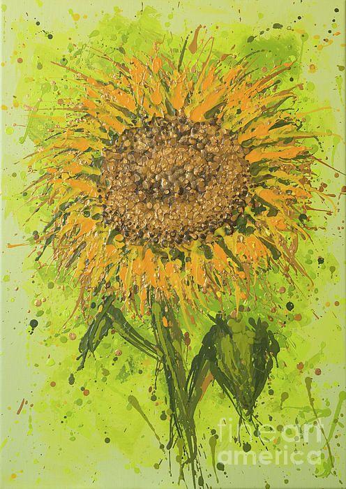 Expressive Sunflower, acrylic splash/splatter painting by Alexandra Kiczuk, 2017.