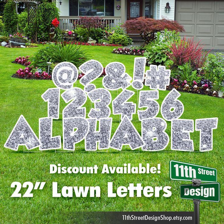 22 Silver Sparkle Lawn Letter Yard Signs 22 Etsy Yard Cards Yard Signs Birthday Yard Signs