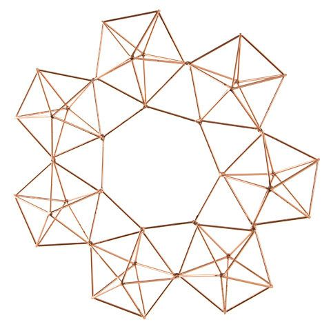 "Copper Wire Geometric Himmeli Wreath 12.5"" Diameter"