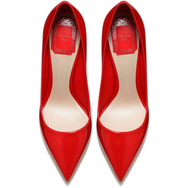 RED PATENT CALFSKIN LEATHER PUMP, 10 CM ❤ liked on Polyvore featuring shoes, pumps, heels, red shoes, red heel shoes, patent shoes, patent pumps and calf leather shoes