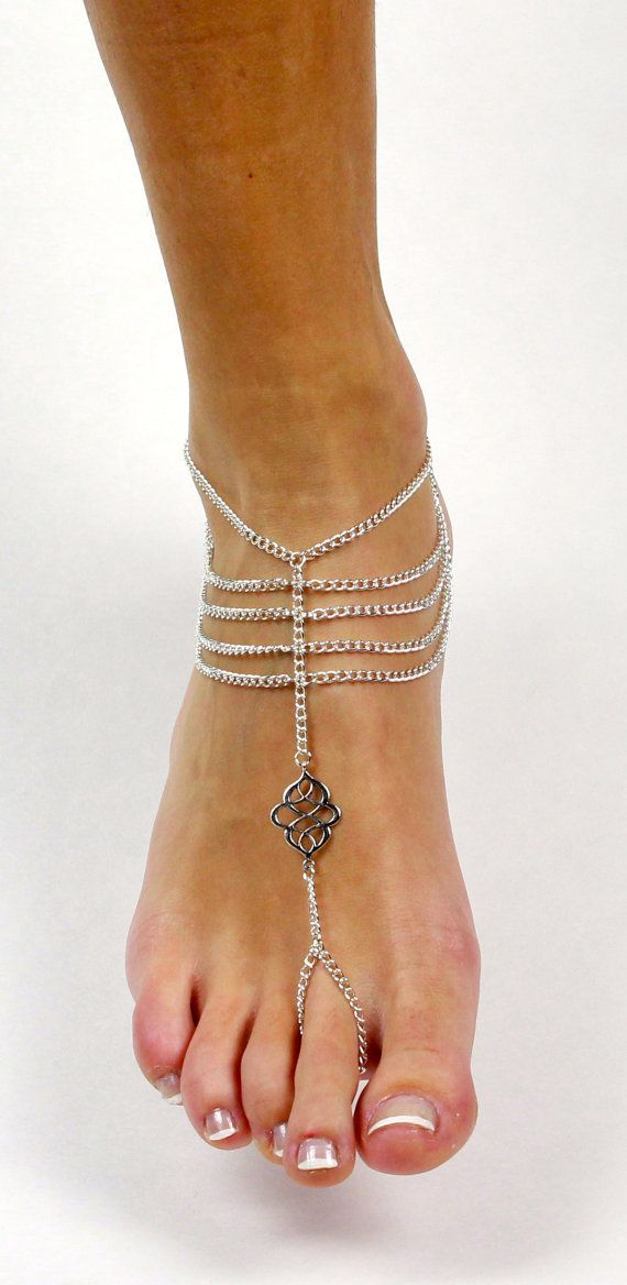 ON SALE Silver Chained Boho Beach Slave Anklet by BareSandals