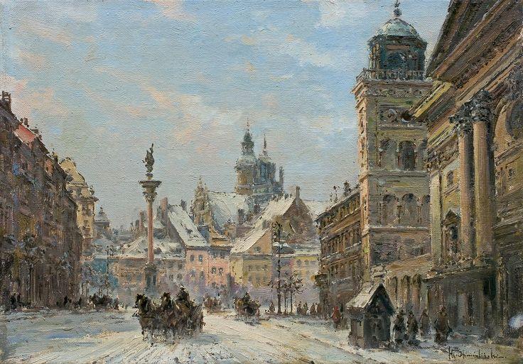 Władysław Chmieliński (1911-1979)     Krakowskie Przedmieście przed 1939 r.    Po prawej, dzwonnica kościoła św. Anny.