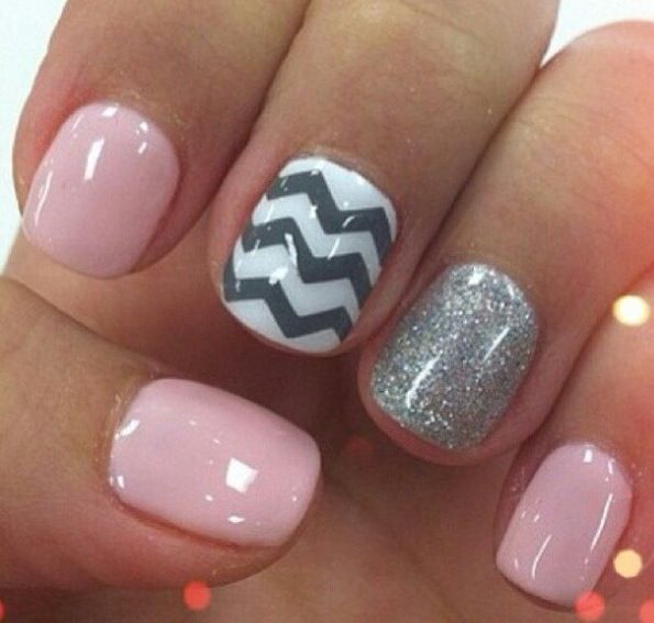 92 best gelish nail art images on pinterest beauty nails deco pink grey chevron nails nail design manicure with one glittery accent nail art prinsesfo Choice Image