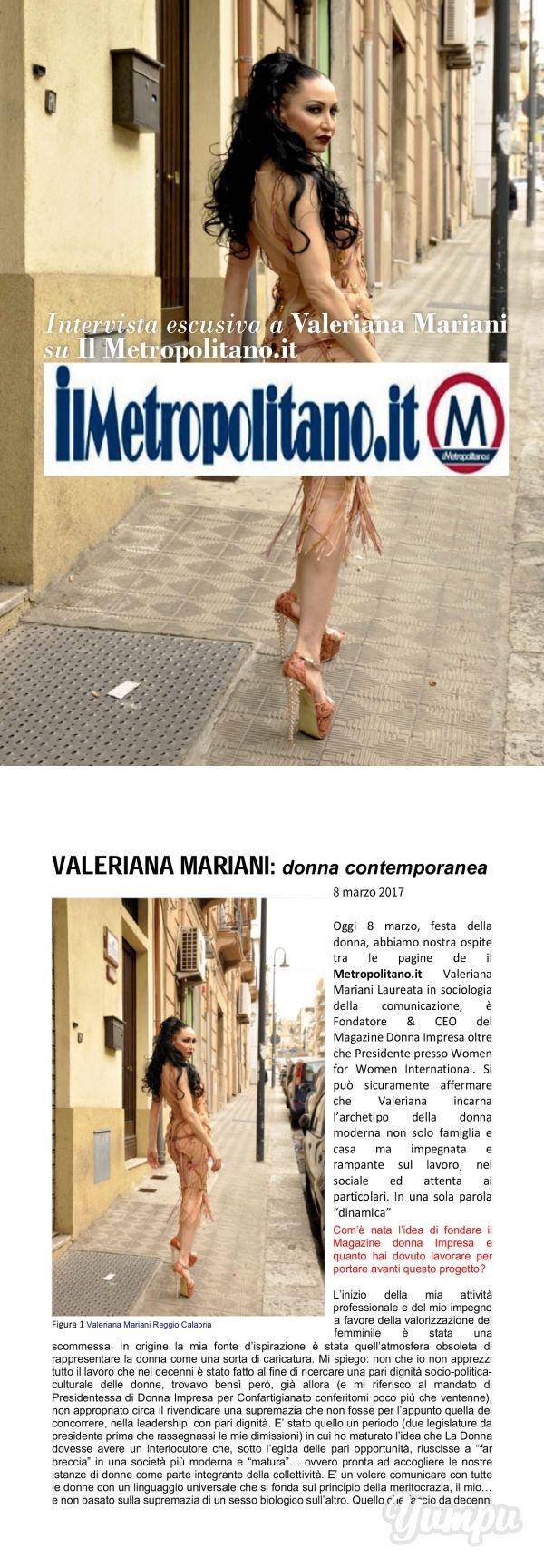 Valeriana Mariani Donna Contemporanea by il metropolitano.it - Magazine with 4 pages: INTERVISTA A VALERIANA MARIANI PRESIDENTE DONNA IMPRESA MAGAZINE SU IL METROPOLITANO http://www.ilmetropolitano.it/2017/03/08/valeriana-mariani-donna-contemporanea/