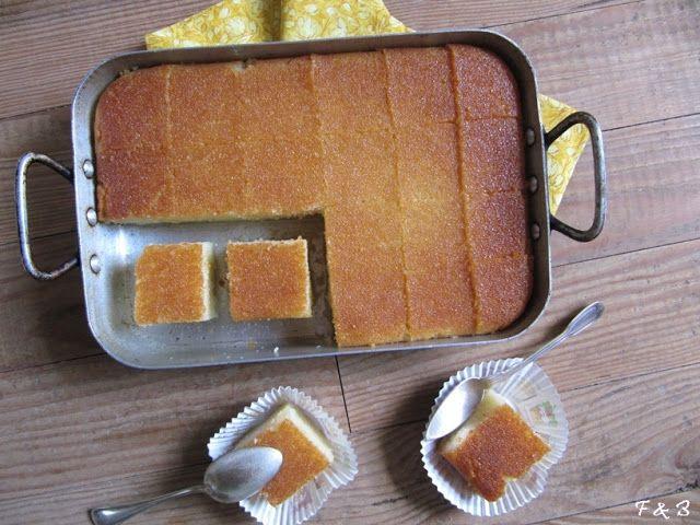 Bassboussa - Gâteau de semoule à la fleur d'oranger et yaourt