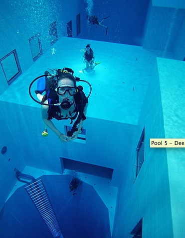 Nemo 33, Brussels, Belgium. The world's deepest swimming pool. The pool has two large flat-bottomed areas at depth levels of 5m (16 ft) and 10m (32 ft), and a large circular pit descending to a depth of 33m (108 ft). It is filled with 2,500,000 litres of non-chlorinated, highly filtered spring water maintained at 30°C (86°F). The complex was designed by Belgian diving expert John Beernaerts as a multi-purpose diving instruction, recreational, and film production facility, and opened in 2004.