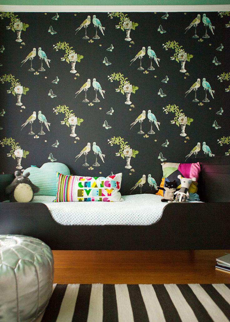 Nina Campbell Wallpaper - Black & Turquoise