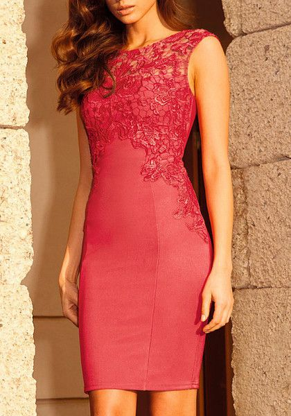 Red Crochet Sheath Dress- With Crochet Floral at Front